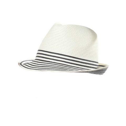 WHITE LABEL - Chapeau-WHITE LABEL-Chapeau trilby Mixte paille pliable uni avec rayur