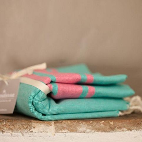 Zandaraa - Fouta serviette de hammam-Zandaraa-fouta plate lagon et rose