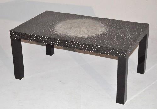 Demeure et Jardin - Table basse rectangulaire-Demeure et Jardin-Table Basse rectangulaire laque noire et coquille
