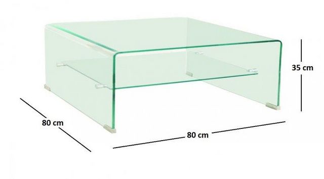 WHITE LABEL - Table basse carrée-WHITE LABEL-WAVE Table basse carrée en verre double plateau 80