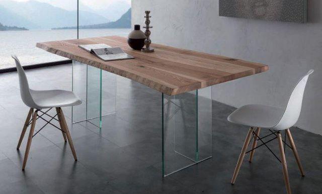WHITE LABEL - Table de repas rectangulaire-WHITE LABEL-Table repas BIO GLASS en bois massif, piétement en