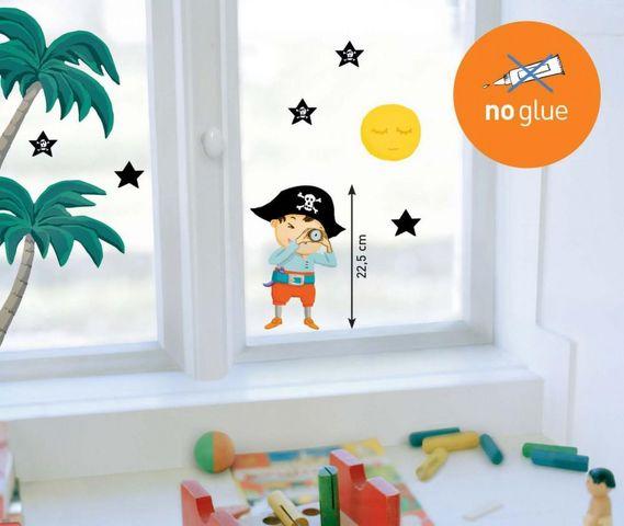 Nouvelles Images - Sticker Décor adhésif Enfant-Nouvelles Images-Sticker fenêtre pirate aux étoiles