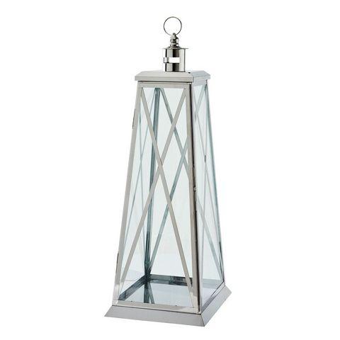 lanterne en verre et m tal argent lanterne d 39 ext rieur. Black Bedroom Furniture Sets. Home Design Ideas