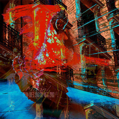 Magel'design - Tableau contemporain-Magel'design-Sevillana 120x120 cm , 3D effet relief
