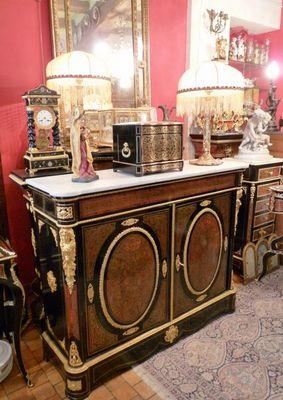 Art & Antiques - Meuble d'entre-deux à hauteur d'appui-Art & Antiques-Meuble d'appui 2 portes en marqueterie Boulle