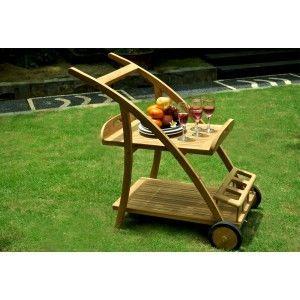 wood-en-stock - Table roulante de jardin-wood-en-stock-desserte en teck brut - plateau amovible