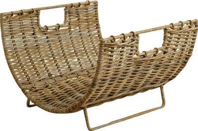 BARCLER - Porte-buches-BARCLER-Panier à bois en métal et poelet gris 56x55x38cm