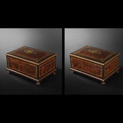 Expertissim - Coffret à bijoux-Expertissim-Coffret rectangulaire en placage de loupe et marqu