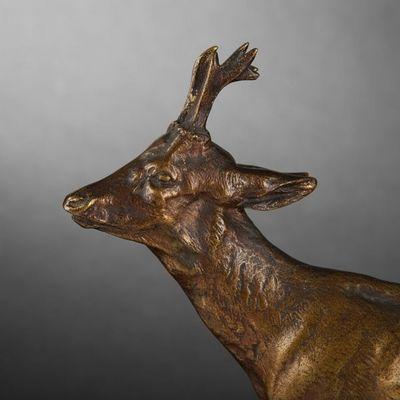 Expertissim - Sculpture animalière-Expertissim-Chevreuil en bronze par Mène