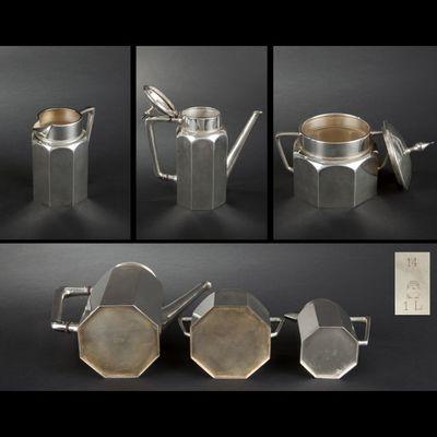 Expertissim - Service à thé-Expertissim-Service à thé de forme octogonale en métal argenté