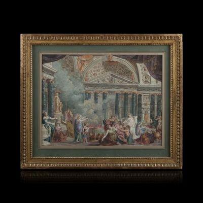Expertissim - Dessin à l'encre-Expertissim-Ecole ITALIENNE vers 1790. Salomon sacrifiant aux