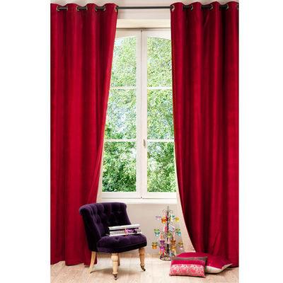 Maisons du monde - Rideaux à oeillets-Maisons du monde-Rideau velours rouge