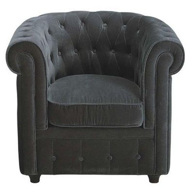 Maisons du monde - Fauteuil-Maisons du monde-Fauteuil velours gris Chesterfield