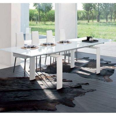 CLEAR SEAT - Table de repas rectangulaire-CLEAR SEAT-Table de Salle à Manger  à rallonges Pieds Blancs