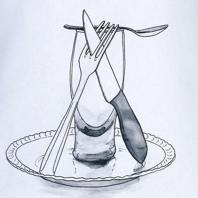 TROIS MAISON - Tablier de cuisine-TROIS MAISON-Tablier de cuisine blanc en coton - Modèle Bière