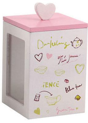 BARCLER - Boite à thé-BARCLER-Boîte à thé en bois rose et blanc 9x9x13cm