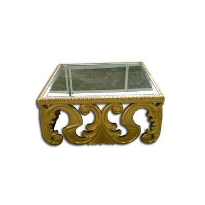 DECO PRIVE - Table basse carr�e-DECO PRIVE-Table basse baroque sculptee en bois doree