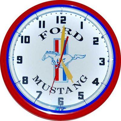 US Connection - Horloge murale-US Connection-Horloge Néon Mustang Rouge