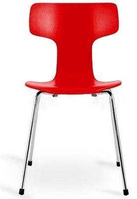 Arne Jacobsen - Chaise-Arne Jacobsen-Chaise 3103 Arne Jacobsen rouge Lot de 4