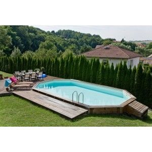 Aqualux - Piscine hors-sol bois-Aqualux-Piscine allonge en bois LOLA - 505 x 305 x 128 cm