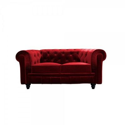 WHITE LABEL - Canap� Chesterfield-WHITE LABEL-Canap� velours 2 places Bristol