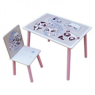 LITTLES PET SHOP - Table enfant-LITTLES PET SHOP-Ensemble table + Chaise LITTLEST PETSHOP