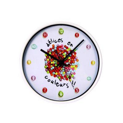 WHITE LABEL - Pendule murale-WHITE LABEL-Horloge Gourmande chiffres Bonbons