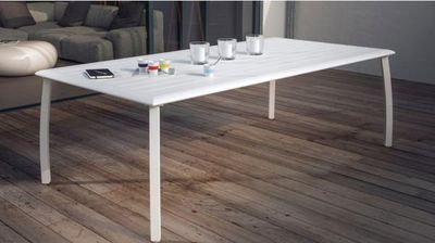 PROLOISIRS - Table de jardin-PROLOISIRS-Table à lattes Azuro en Aluminium Blanc sand
