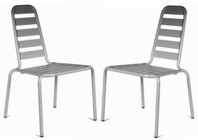 PROLOISIRS - Chaise de jardin-PROLOISIRS-Chaise empilable menu Nacre en Aluminium (Lot de 2