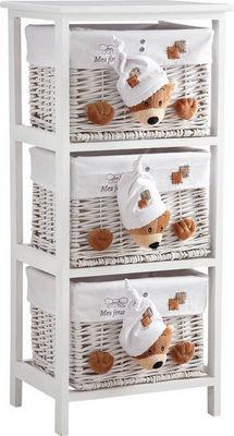 Aubry-Gaspard - Commode enfant-Aubry-Gaspard-Commode 3 tiroirs en bois et osier Mes jouets Ours