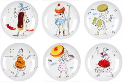 La Chaise Longue - Assiette à dessert-La Chaise Longue-Coffret 6 assiettes les gourmandes en porcelaine 2