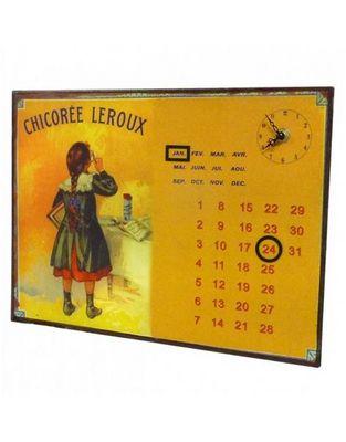 L'HERITIER DU TEMPS - Horloge murale-L'HERITIER DU TEMPS-Calendrier-pendule Plaque Pub Chicoree