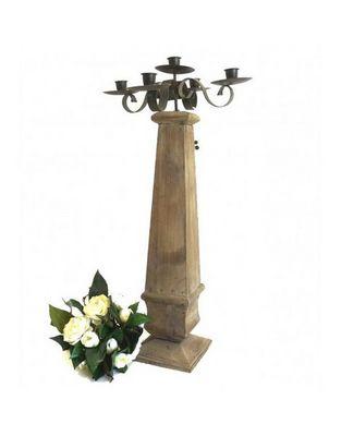 L'HERITIER DU TEMPS - Chandelier-L'HERITIER DU TEMPS-Bougeoir en bois et fer 5 bougies