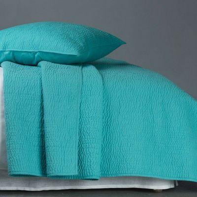 BLANC D'IVOIRE - Jeté de lit-BLANC D'IVOIRE-CESAR Turquoise