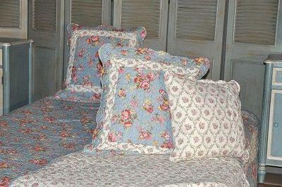 Demeure et Jardin - Taie d'oreiller-Demeure et Jardin-Taie d'Oreiller Boutis Bleu