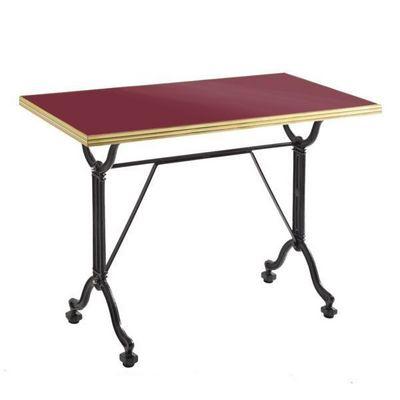 Ardamez - Table de repas rectangulaire-Ardamez-Table de repas émaillée rouge / laiton / fonte
