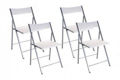 WHITE LABEL - Chaise pliante-WHITE LABEL-BELFORT Lot de 4 chaises pliantes blanc