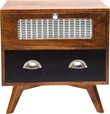 WHITE LABEL - Table de chevet-WHITE LABEL-Chevet style radio RETRO en bois