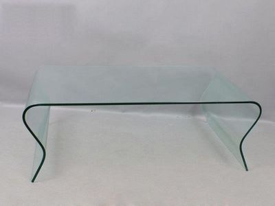 WHITE LABEL - Table basse rectangulaire-WHITE LABEL-Table basse en verre ondulée SCOOP