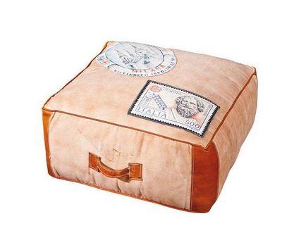 WHITE LABEL - Pouf-WHITE LABEL-Pouf design LOCANO en coton et cuir marron