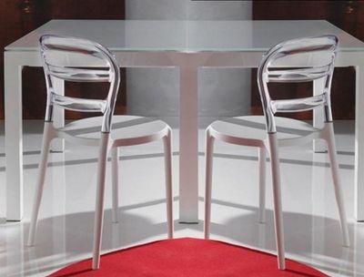 WHITE LABEL - Chaise-WHITE LABEL-Lot de 2 chaises design DEJAVU en plexiglas transp