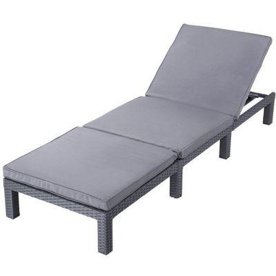 WHITE LABEL - Bain de soleil-WHITE LABEL-Transat bain de soleil chaise longue gris