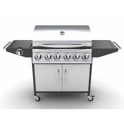 WHITE LABEL - Barbecue au gaz-WHITE LABEL-Barbecue à gaz 6 brûleurs avec thermomètre