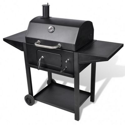 WHITE LABEL - Barbecue au gaz-WHITE LABEL-Barbecue charbon de bois smoker thermomètre
