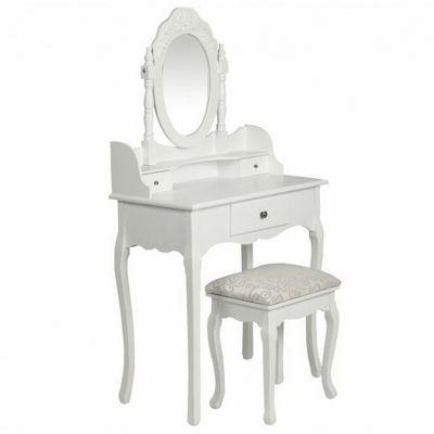 WHITE LABEL - Coiffeuse-WHITE LABEL-Coiffeuse avec tabouret et miroir