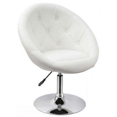 WHITE LABEL - Fauteuil rotatif-WHITE LABEL-Fauteuil lounge pivotant cuir blanc