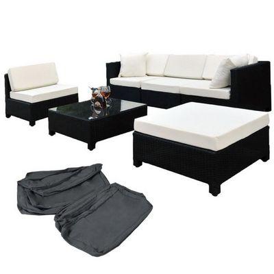 WHITE LABEL - Salon de jardin-WHITE LABEL-Salon de jardin rotin synthétique noir