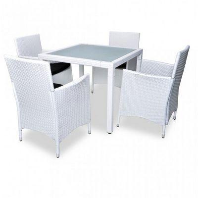 WHITE LABEL - Salle à manger de jardin-WHITE LABEL-Salon de jardin avec table + 4 chaises