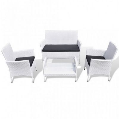 WHITE LABEL - Salon de jardin-WHITE LABEL-Salon complet de jardin rotin PE blanc
