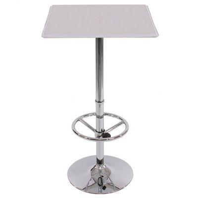 WHITE LABEL - Mange debout-WHITE LABEL-Table haute de bar avec repose-pied blanc